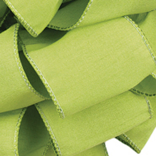 Anisha - Clean Green Wired Edge Ribbon