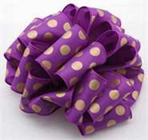 Gold/Purple Dot Wired Ribbon