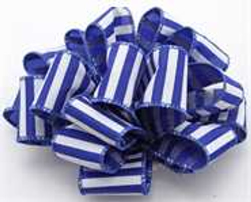 Royal and White Striped Wired Ribbon