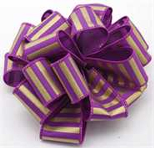Gold and Purple Striped Wired Ribbon