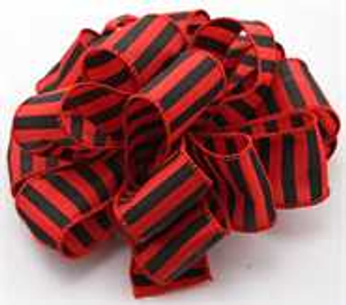 Black and Red Striped Wired Ribbon