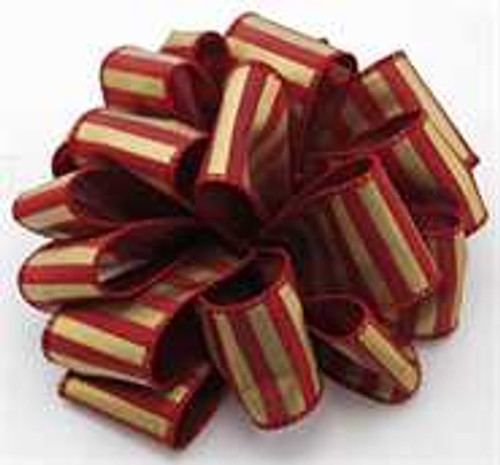 Burgundy and Gold Striped Wired Ribbon