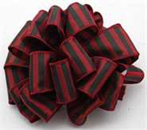 Burgundy and Black Striped Wired Ribbon