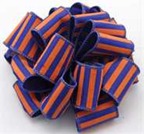 Orange and Blue Striped Wired Ribbon