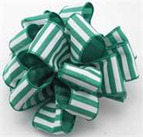 Emerald and White Striped Wired Ribbon