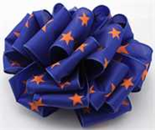 Orange and Blue Star Wired Ribbon