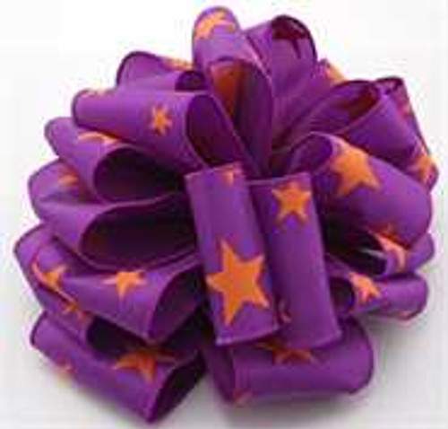 Purple and Orange Star Wired Ribbon