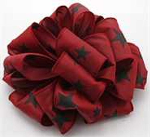 Burgundy and Black Star Wired Ribbon