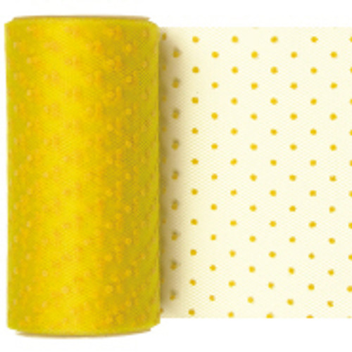 Yellow Dotted Tulle Fabric