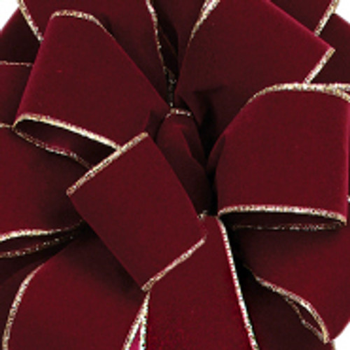 Burgundy Noble Wired Velvet Ribbon