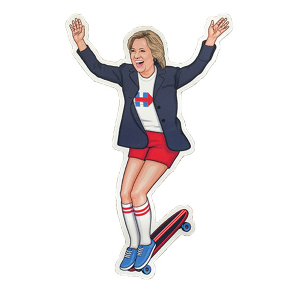 Gnarly Election Sticker Hillary Hang Ten