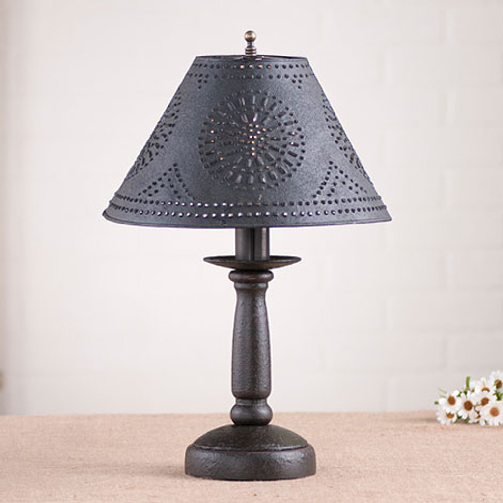 "Irvin's Butchers Chamberstick Lamp In Americana Black, Pictured With Optional 12"" Chisel Design Shade Finished In Textured Black"
