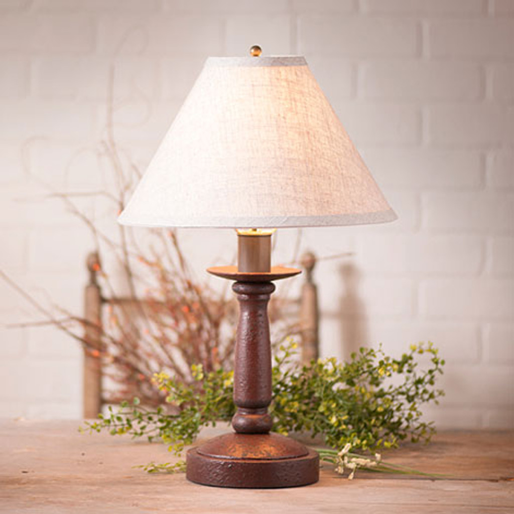 "Irvin's Butchers Chamberstick Lamp In Americana Plantation Red, Pictured With Optional 12"" Ivory Linen Shade."