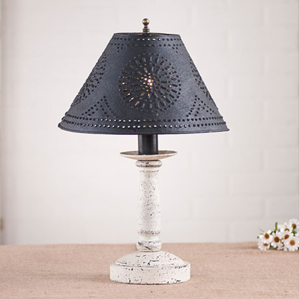 "Irvin's Butchers Chamberstick Lamp In Americana Vintage White, Pictured With Optional 12"" Chisel Design Shade Finished In Textured Black"