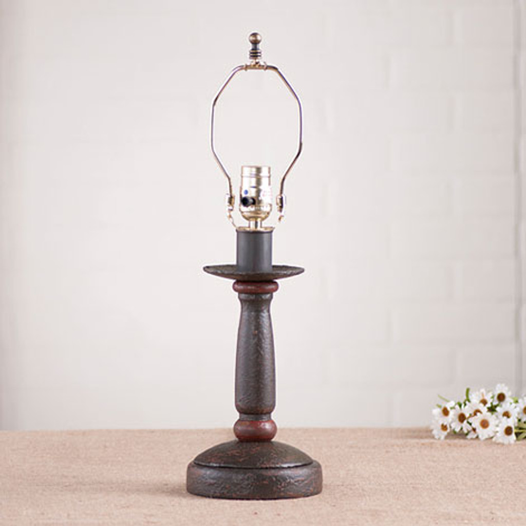Irvin's Butchers Chamberstick Lamp In Americana Espresso With Red