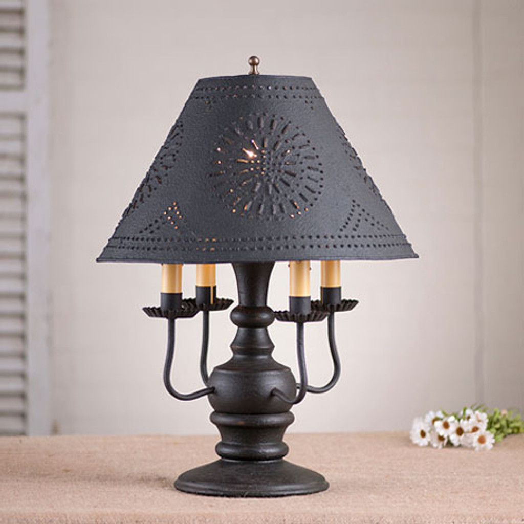 "Irvin's Cedar Creek Lamp In Americana Black. Pictured With Optional 15"" Chisel Design Shade Finished In Textured Black"