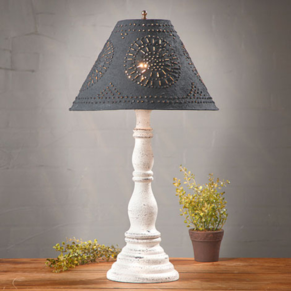 """Irvin's Davenport Lamp In Americana Vintage White, Shown With Optional 15"""" Chisel Design Shade Finished In Textured Black"""
