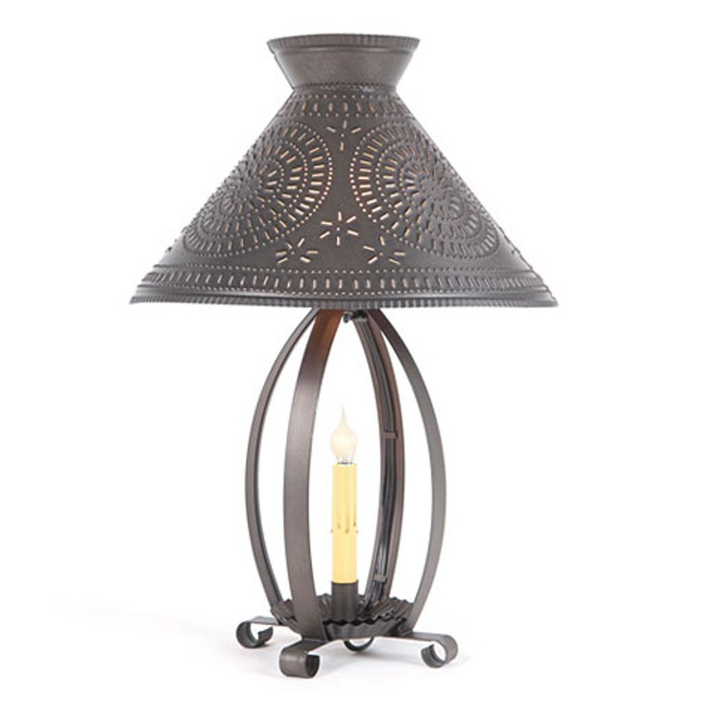 Irvin's Betsy Ross Lamp Finished In Kettle Black. Shown With Optional Chisel Design Betsy Ross Shade Finished In Kettle Black