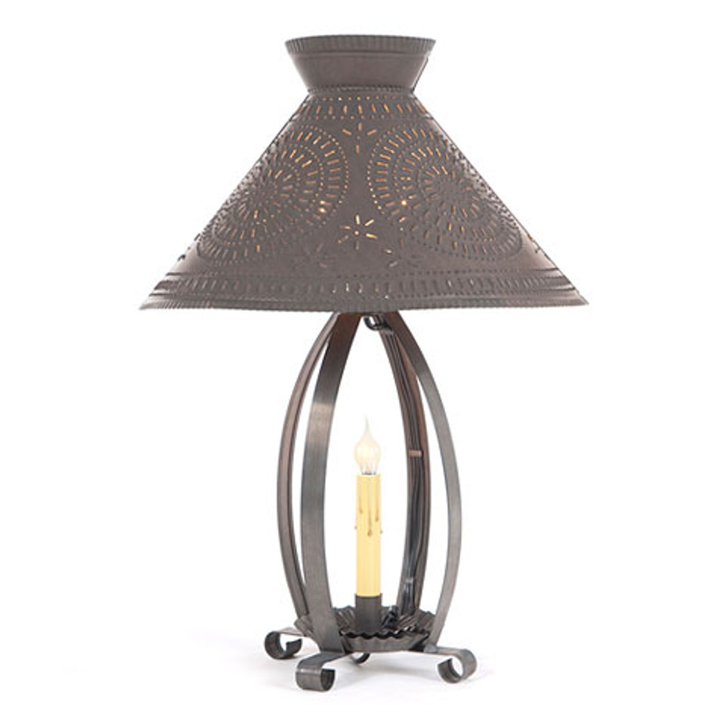 Irvin's Betsy Ross Lamp Finished In Blackened Tin. Shown With Optional Chisel Design Betsy Ross Shade Finished In Blackened Tin
