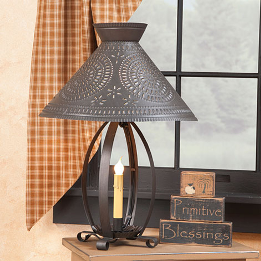 Irvin's Tinware Betsy Ross Lamp Shown With Optional Chisel Design Shade Finished In Blackened Tin