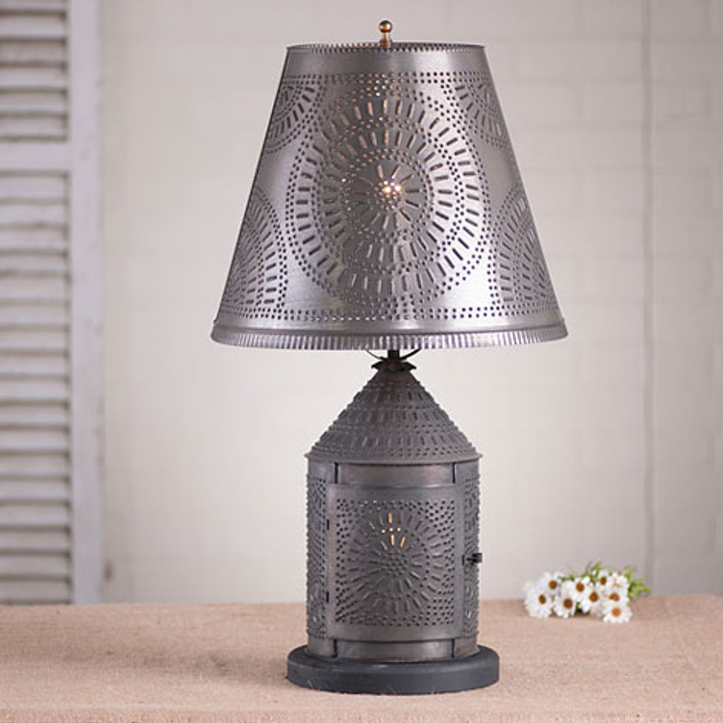 "Irvin's Fireside Lamp With Chisel Design Finished In Blackened Tin, Shown With Optional 14"" Fireside Chisel Design Shade Finished In Blackened Tin"
