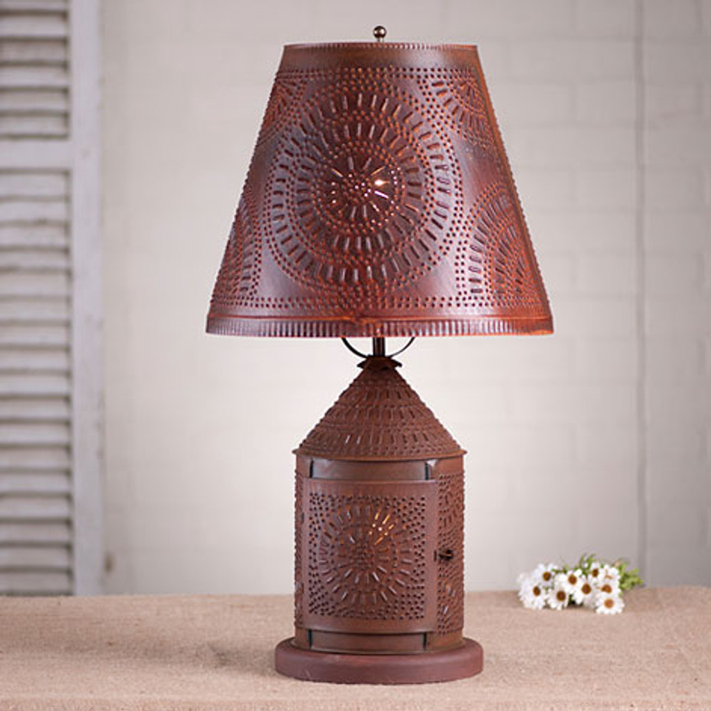 "Irvin's Fireside Lamp With Chisel Design Finished In Rustic Tin, Shown With Optional 14"" Fireside Chisel Design Shade Finished In Rustic Tin"