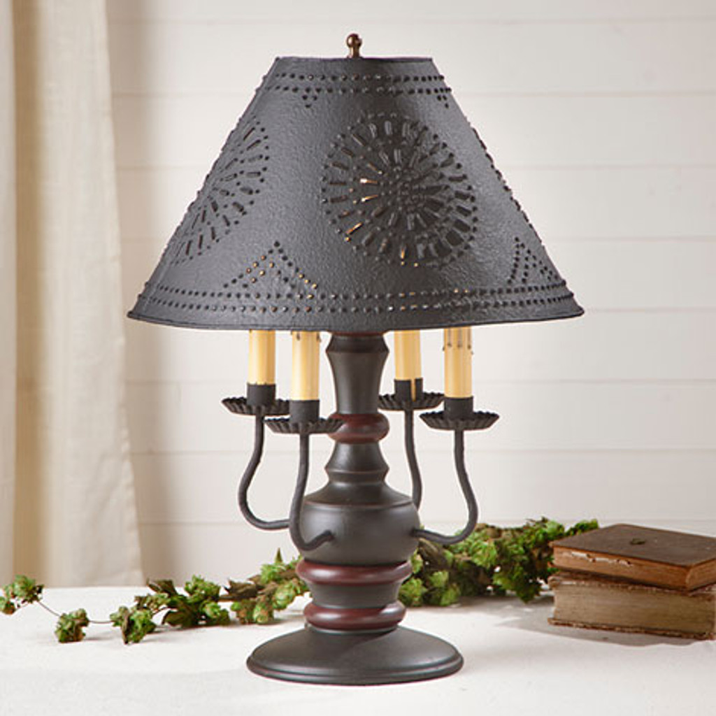 "Irvin's Cedar Creek Lamp In Sturbridge Black With Red, Shown With Optional Chisel Design Textured Black 15"" Shade"