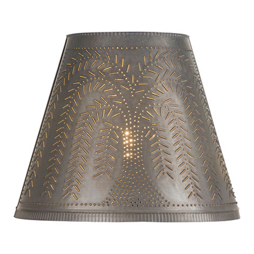 "Optional 14"" Fireside Willow Design Shade In Blackened Tin"