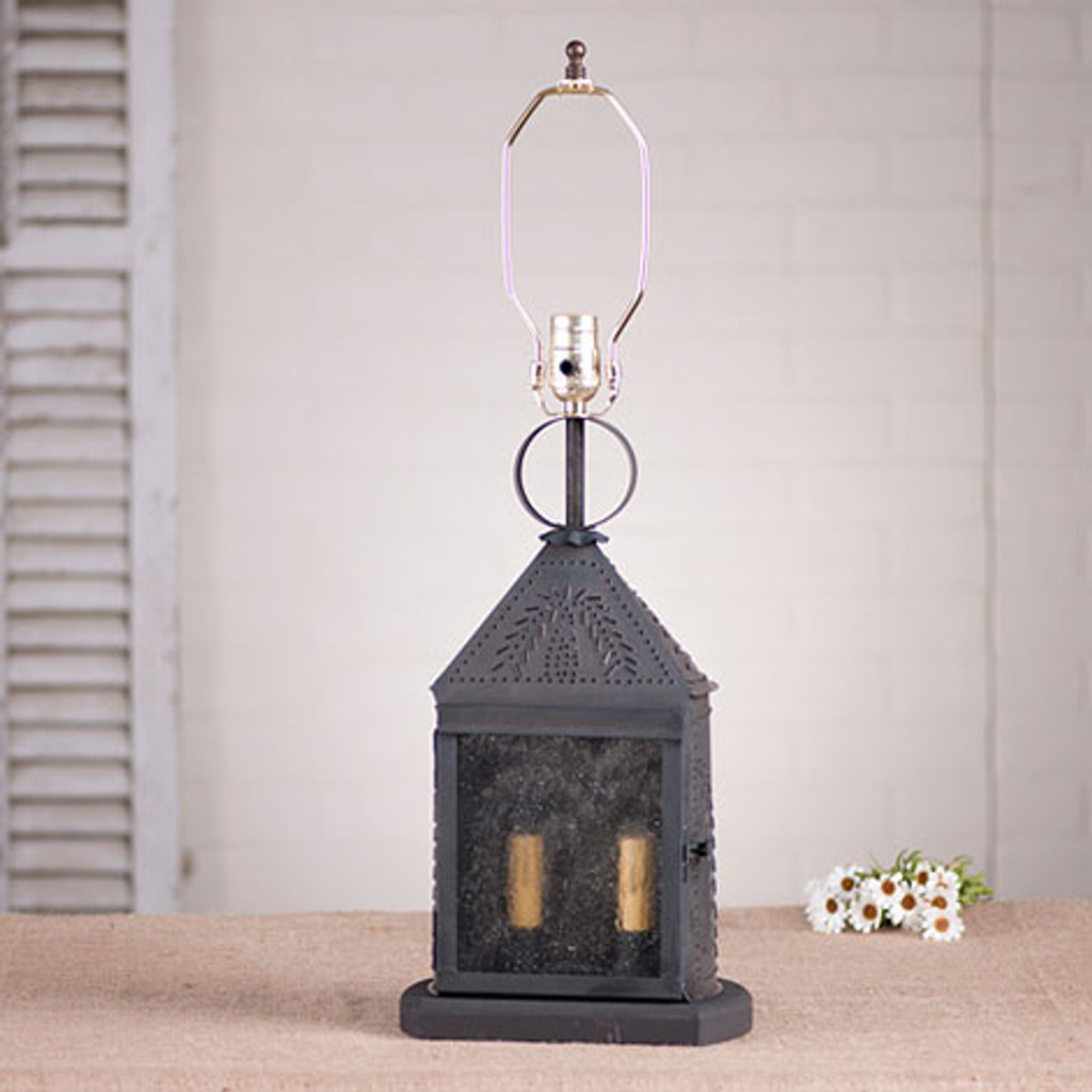 Irvin's Harbor Lamp With Willow Design In Blackened Tin