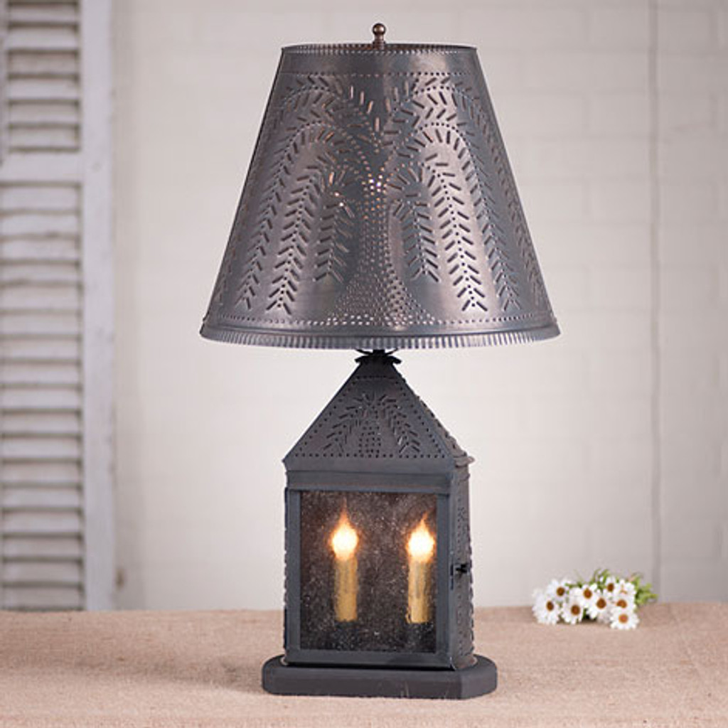 "Irvin's Harbor Lamp With Willow Design In Blackened Tin, Pictured With Optional 14"" Fireside Willow Design Shade In Blackened Tin"