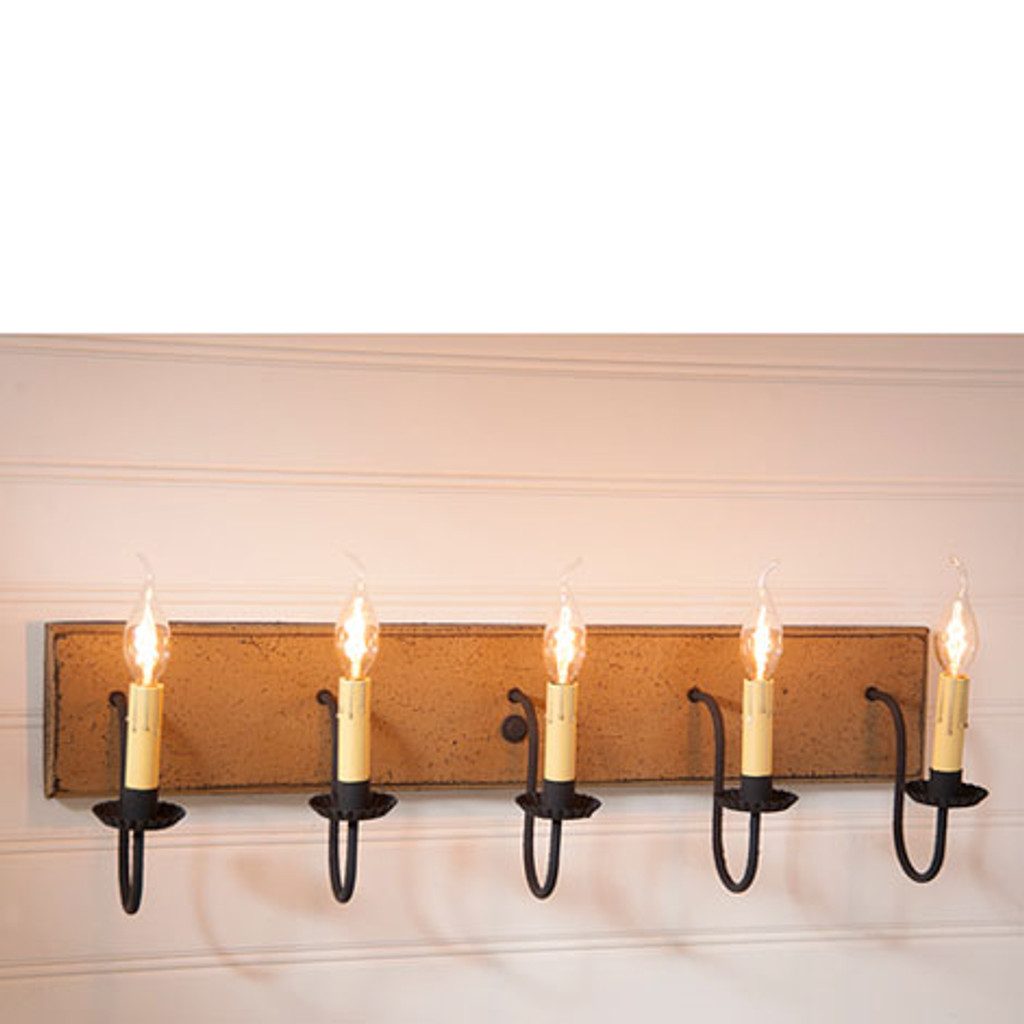 Irvin's 5 Arm Vanity Light In Americana Pearwood