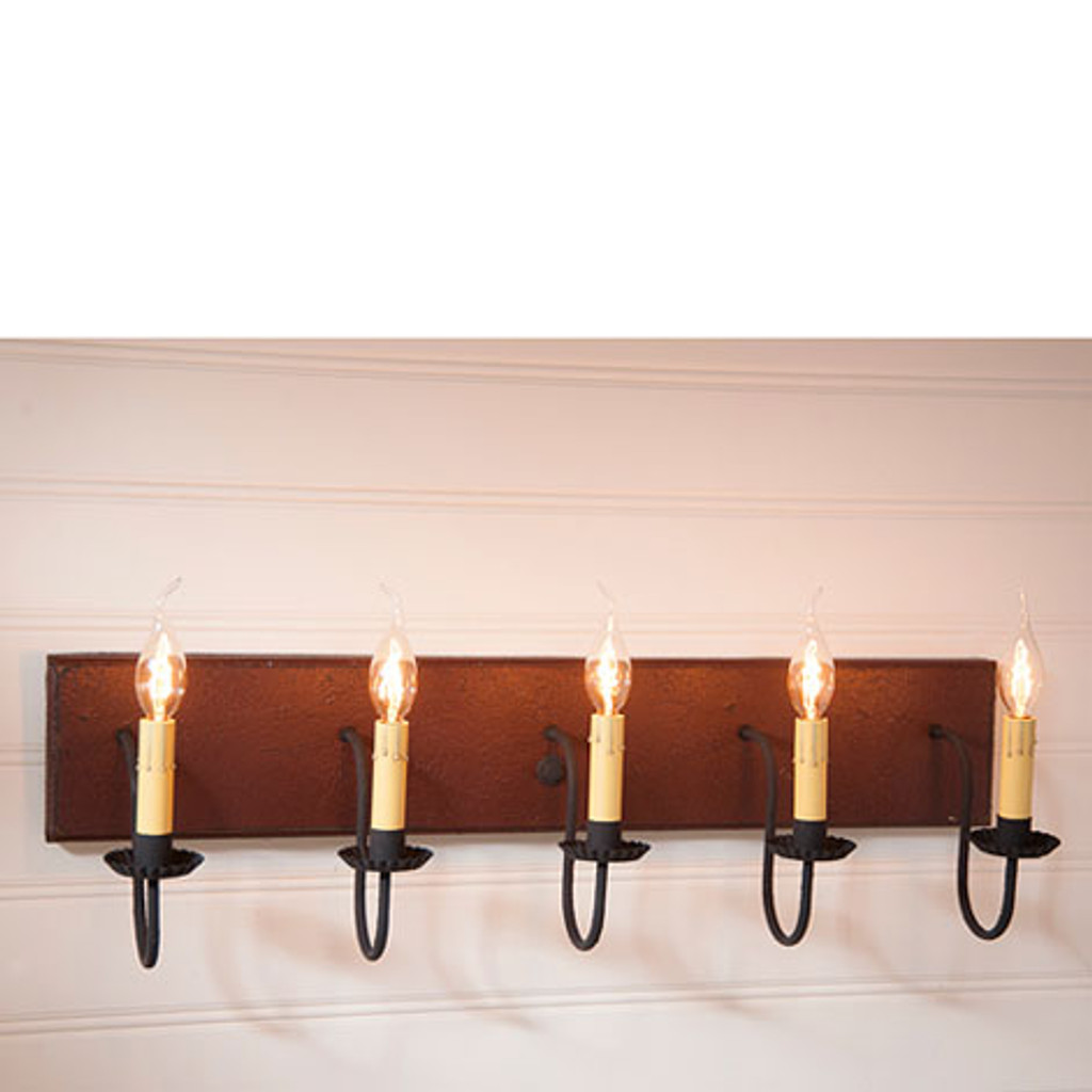 Irvin's 5 Arm Vanity Light In Americana Plantation Red