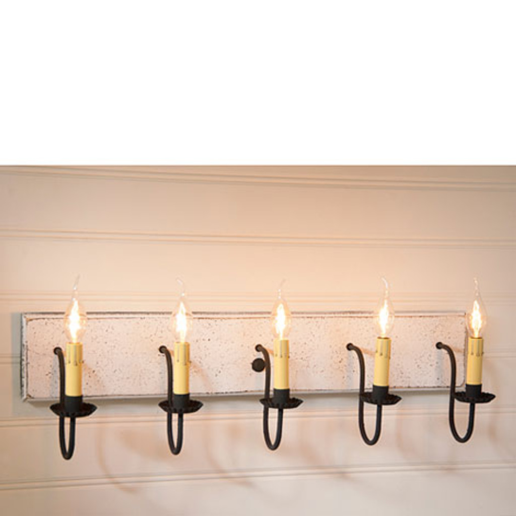Irvin's 5 Arm Vanity Light In Americana Vintage White
