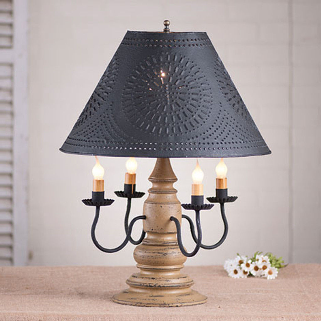 "Irvin's Harrison Lamp Finished In Americana Pearwood, Shown With Optional 17"" Chisel Design Shade Finished Textured In Black"