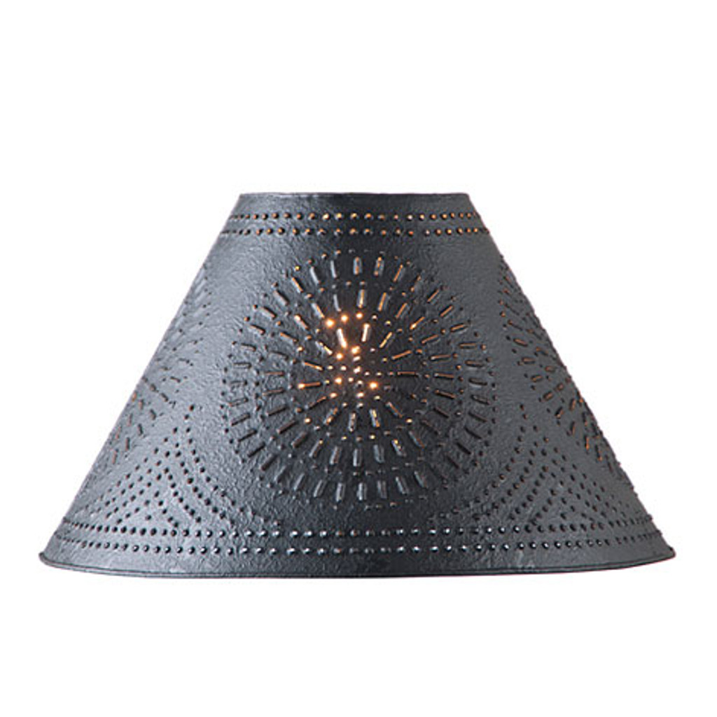 "Irvin's 17"" Chisel Design Shade Finished In Textured Black"