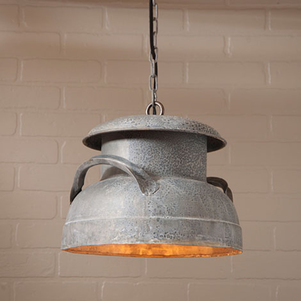 Irvin' Tinware Milk Can Pendant Light In Weathered Zinc