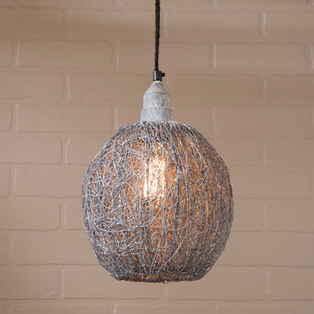 Irvin's Tinware Nesting Wire Hanging Light In Weathered Zinc