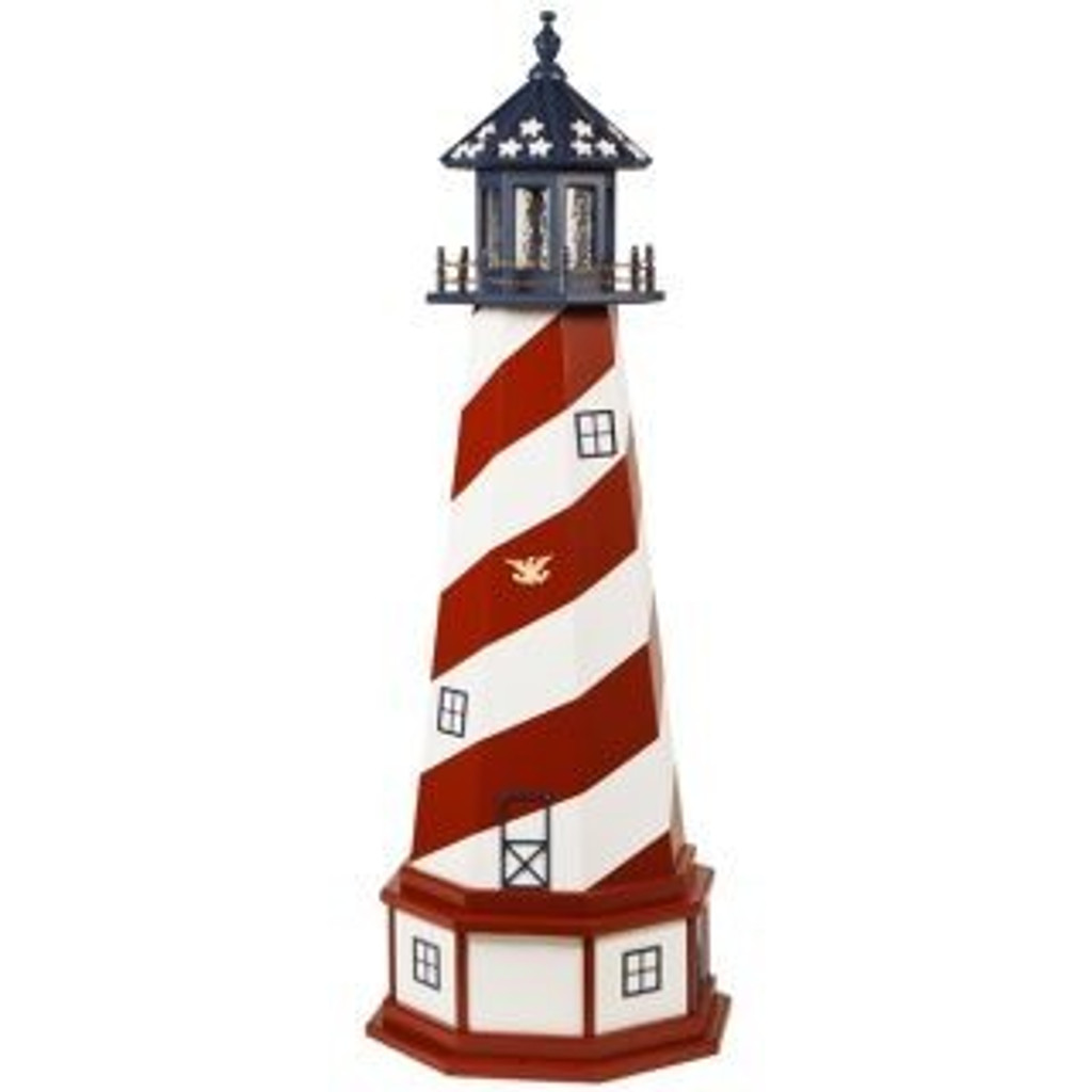 Amish Made Wood Garden Lighthouse - Patriotic - Shown As: Cape Hatteras, 5 Foot With Optional Base, Standard Electric Lighting, Optional Base Primary Color White, Optional Base Trim Color Cardinal Red, No Base/Tower Interior Lighting