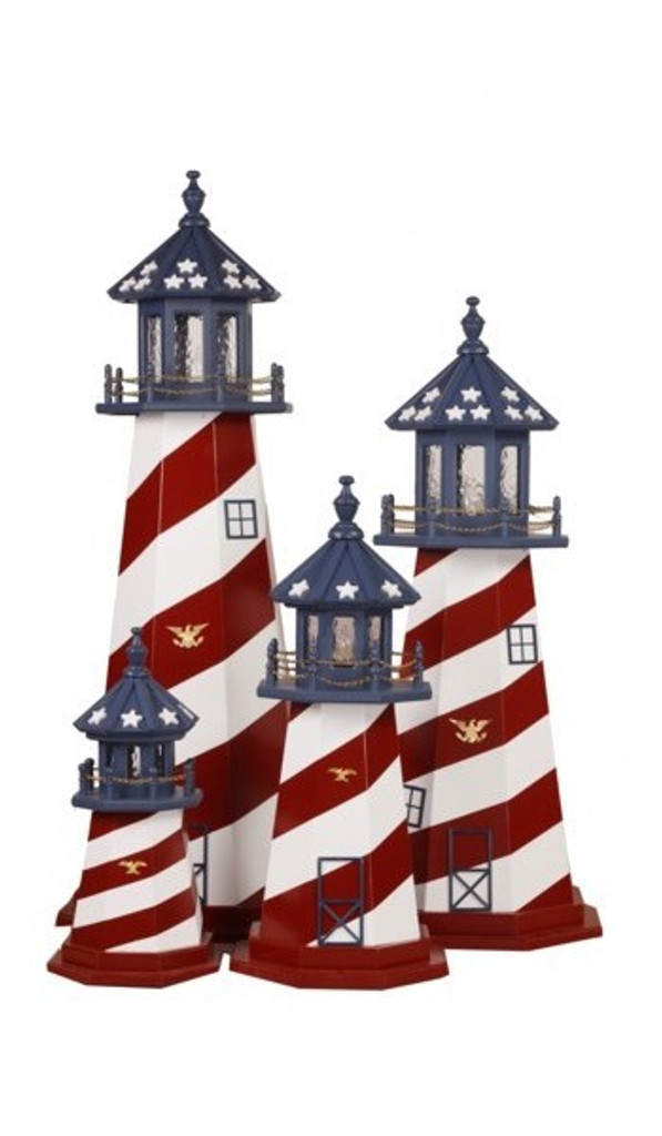 Amish Made Wood Garden Lighthouse - Patriotic- Shown As: Cape Hatteras, 2', 3', 4', 5', Standard Electric Lighting - Without Optional Base