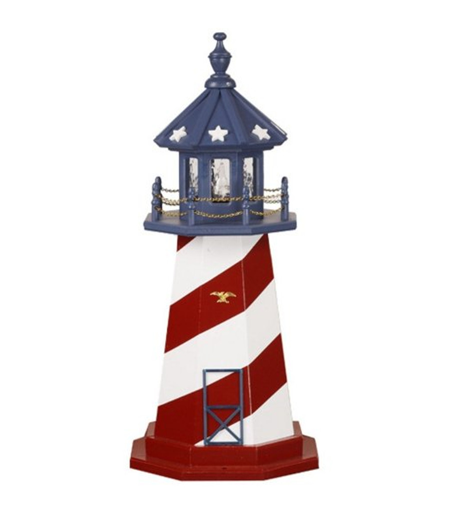 Amish Made Wood Garden Lighthouse - Patriotic - Shown As: Cape Hatteras, 3 Foot, Standard Electric Lighting, Optional Base Primary Color None, Optional Base Trim Color None, No Base/Tower Interior Lighting