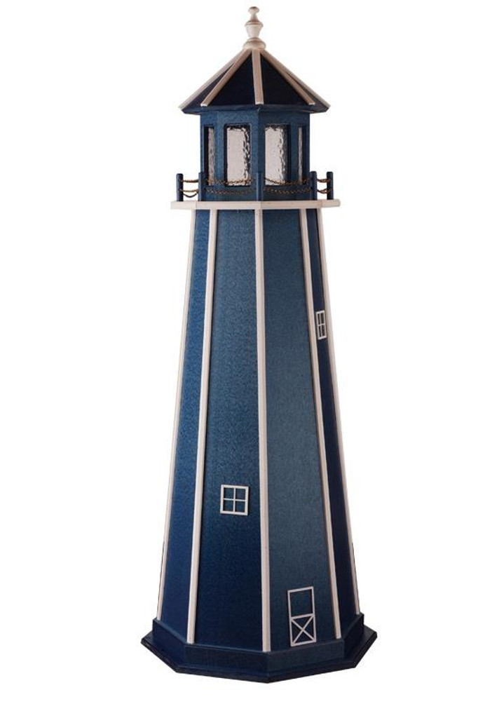 Amish Made Wooden Garden Lighthouse - Standard - Shown As: 6 Foot, Standard Electrical Lighting, Roof & Tower Primary Color Patriot Blue, Tower Accent/Trim Color White. Optional Base Primary Color None, Optional Base Trim Color None, No Base/Tower Interior Lighting