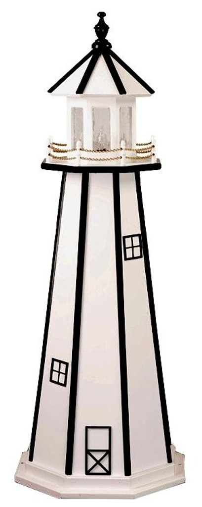 Amish Made Wooden Garden Lighthouse - Standard - Shown As: 4 Foot, Standard Electrical Lighting, Roof & Tower Primary Color White, Tower Accent/Trim Color Black. Optional Base Primary Color None, Optional Base Trim Color None, No Base/Tower Interior Lighting
