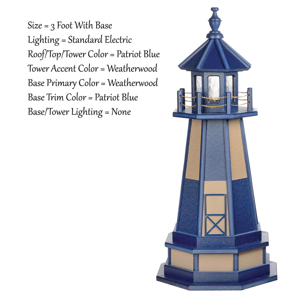 Amish Made Wood Garden Lighthouse - Cape Henry- Shown As: 3 Foot With Optional Base, Standard Electrical Lighting, Roof & Tower Primary Color Patriot Blue, Tower Accent/Trim Color Weatherwood, - Optional Base Primary Color Weatherwood, Optional Base Trim Color Patriot Blue. No Base/Tower Interior Lighting