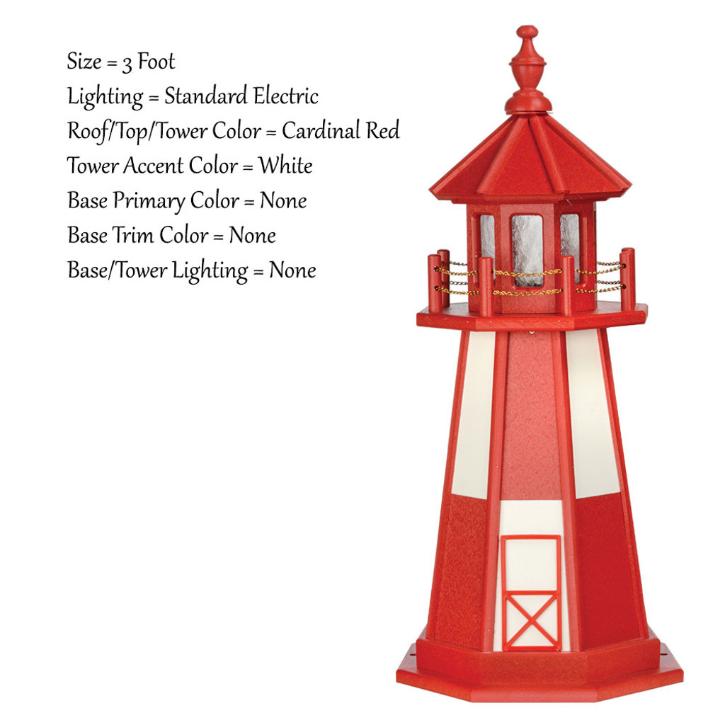Amish Made Wood Garden Lighthouse - Cape Henry- Shown As: 3 Foot, Standard Electrical Lighting, Roof & Tower Primary Color Cardinal Red, Tower Accent/Trim Color White, - Optional Base Primary Color None, Optional Base Trim Color None. No Base/Tower Interior Lighting