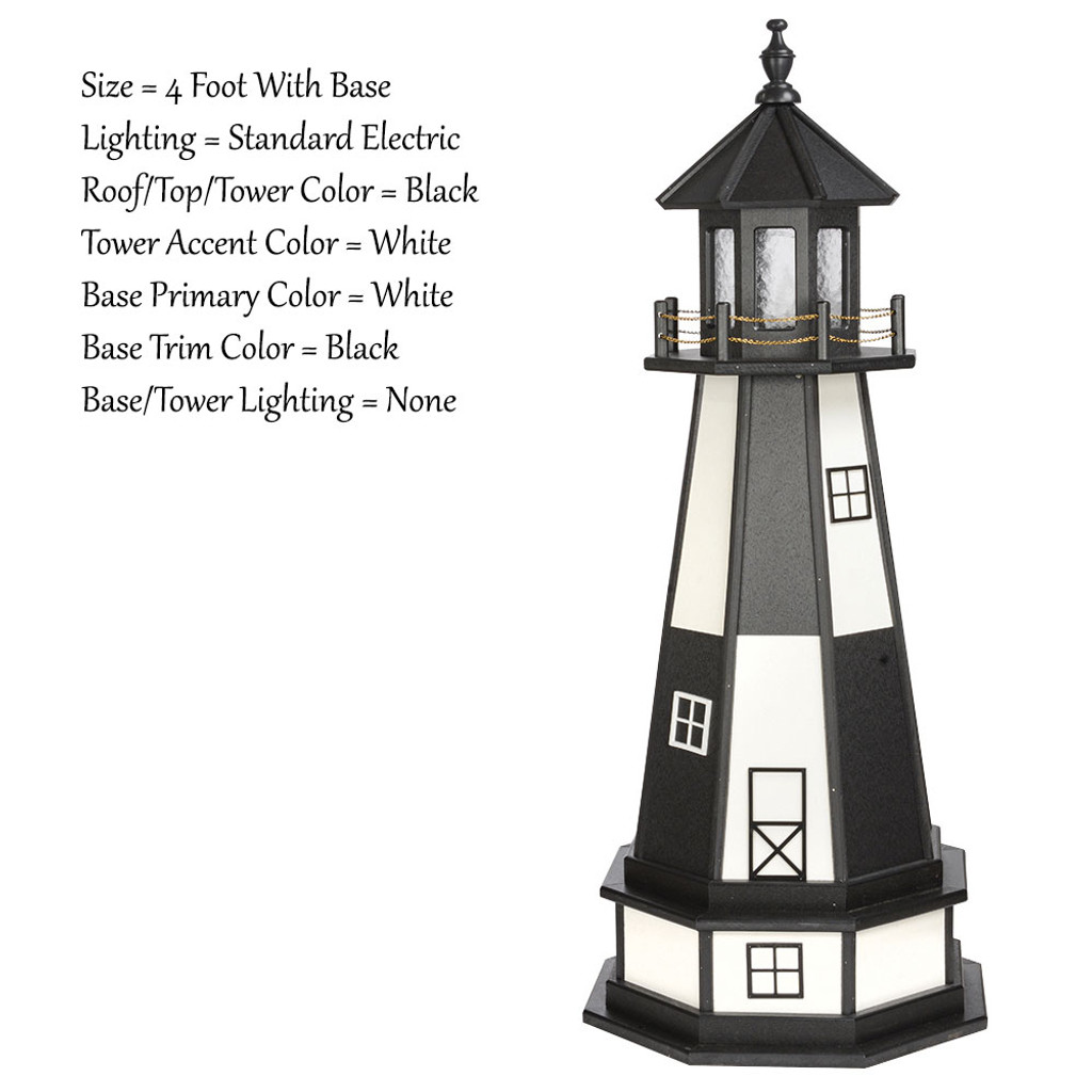 Amish Made Wood Garden Lighthouse - Cape Henry- Shown As: 4 Foot With Optional Base, Standard Electrical Lighting, Roof & Tower Primary Color Black, Tower Accent/Trim Color White, - Optional Base Primary Color White, Optional Base Trim Color Black. No Base/Tower Interior Lighting