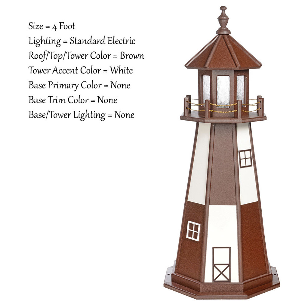 Amish Made Wood Garden Lighthouse - Cape Henry- Shown As: 4 Foot, Standard Electrical Lighting, Roof & Tower Primary Color Brown, Tower Accent/Trim Color White, - Optional Base Primary Color None, Optional Base Trim Color None. No Base/Tower Interior Lighting