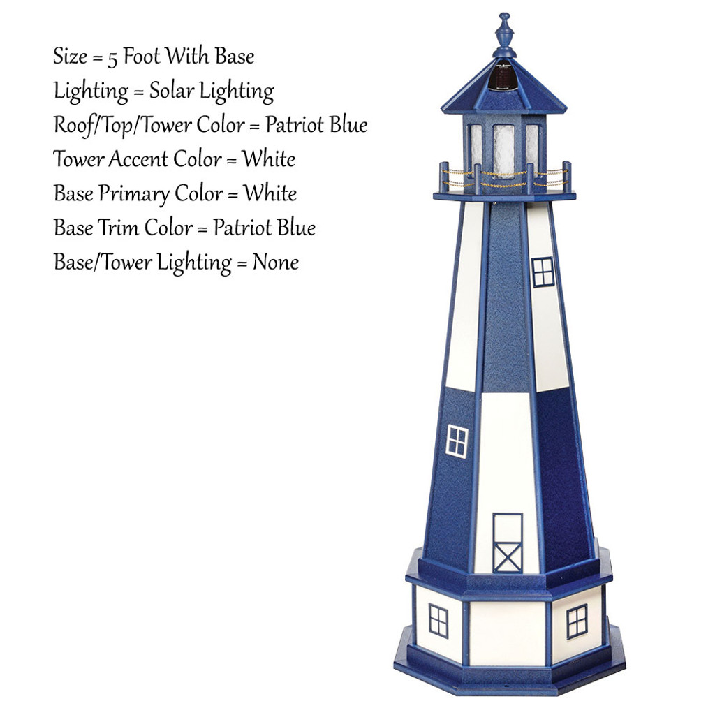 Amish Made Wood Garden Lighthouse - Cape Henry- Shown As: 5 Foot With Optional Base, Solar Lighting, Roof & Tower Primary Color Patriot Blue, Tower Accent/Trim Color White, - Optional Base Primary Color White, Optional Base Trim Color Patriot Blue. No Base/Tower Interior Lighting
