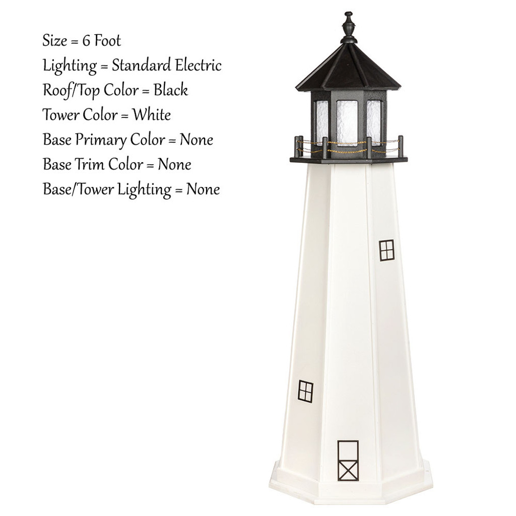 Amish Made Wood Outdoor Lighthouse - Cape Cod - Shown As: 6 Foot, Standard Electric Lighting, Roof/Top Color Black, Tower Color White, Optional Base Primary Color None, Optional Base Trim Color None, No Base/Tower Interior Lighting