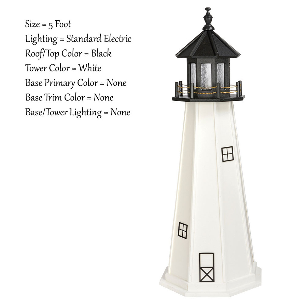 Amish Made Wood Outdoor Lighthouse - Cape Cod - Shown As: 5 Foot, Standard Electric Lighting, Roof/Top Color Black, Tower Color White, Optional Base Primary Color None, Optional Base Trim Color None, No Base/Tower Interior Lighting