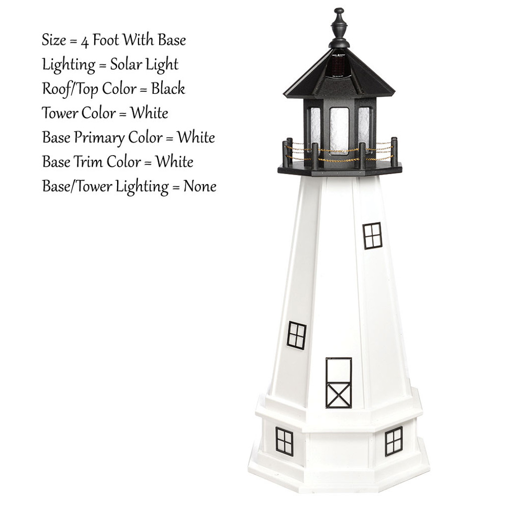 Amish Made Wood Outdoor Lighthouse - Cape Cod - Shown As: 4 Foot With Base, Solar Lighting, Roof/Top Color Black, Tower Color White, Optional Base Primary Color White, Optional Base Trim Color White, No Base/Tower Interior Lighting